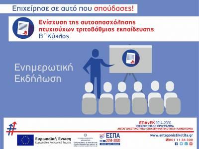 """Ενημερωτικές εκδηλώσεις της Δράσης """"Ενίσχυση της Αυτοαπασχόλησης Πτυχιούχων της Τριτοβάθμιας Εκπαίδευσης - Β΄ κύκλος"""""""